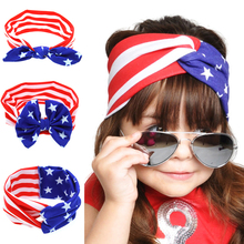 TWDVS Headwear American  New Cut stars stripes flag headband Bow National Day Kids  Hair Accessories Hair Elasticity KT047