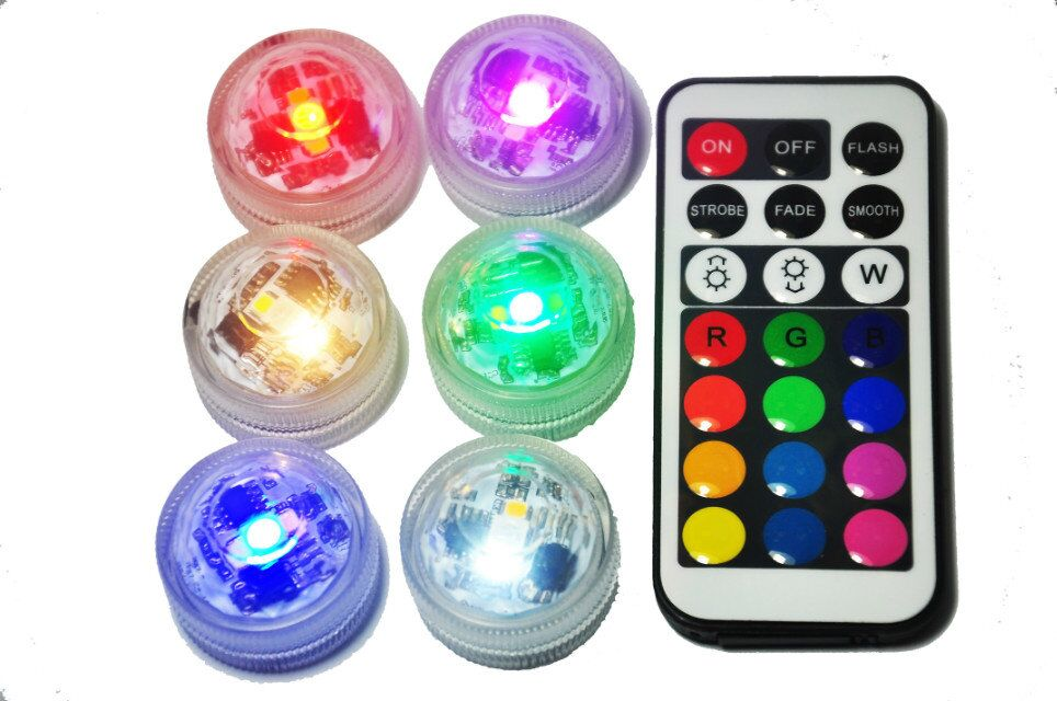 20*Replaceable CR2032 Battery Powered Waterproof Mini Submersible LED Light With Remote Controller For Party Vases Decoration