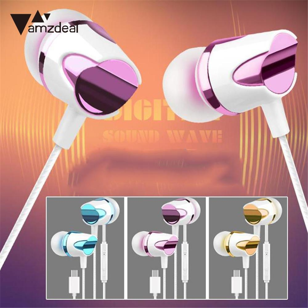 amzdeal High Quality HiFi Type-C Stereo Headphone Earphone Headset In Ear with Mic Micro ...