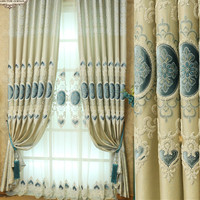 Custom Modern Minimalist European Style Embroidery Curtain Jacquard Shade Finished Curtains For Living Dining Room Bedroom