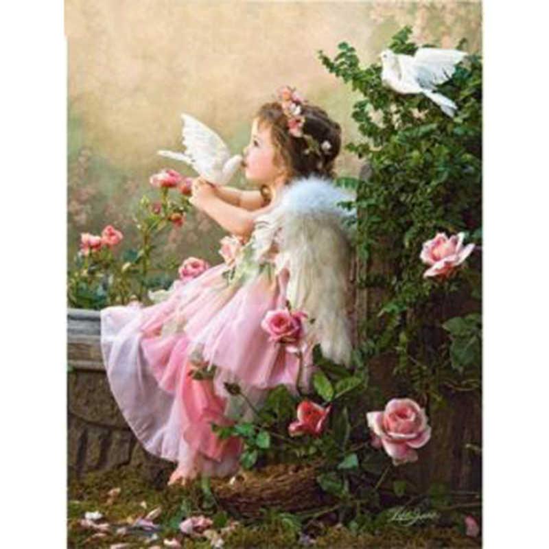 5d алмазная вышивка с кристаллами девушка целование белый голубь Алмазная роспись алмазной мозайкой наборы картины