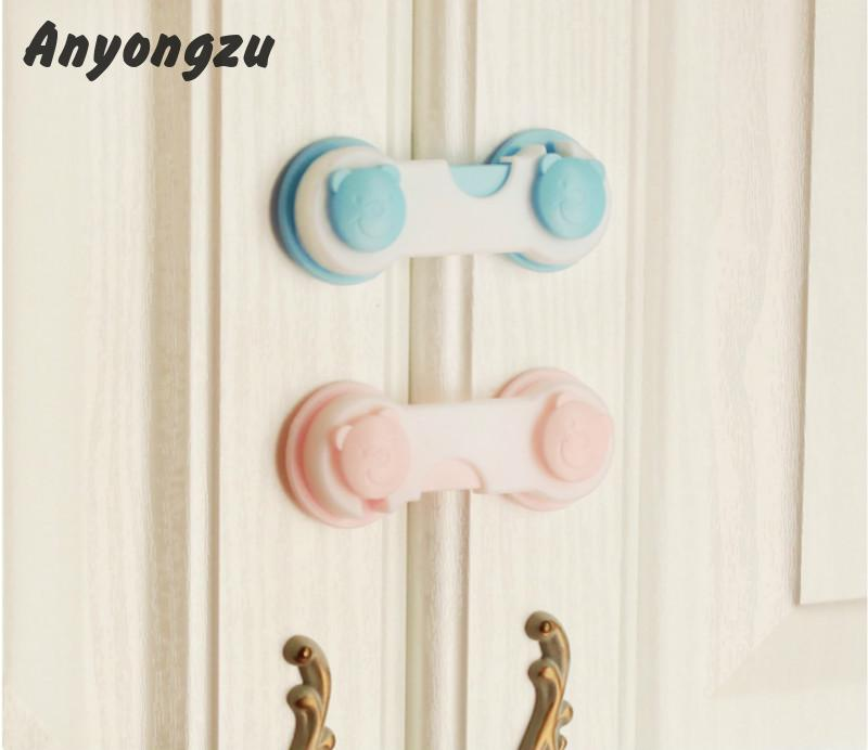 100% Quality 20psc/lot New Refrigerators Locks Cabinet Lock Plastic Protect Child Safety Prevent Clamp Hand Multifunction Safety Lock