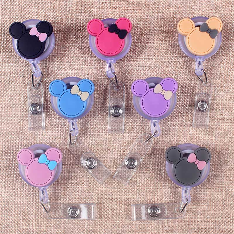 7Kind Style Bowknot Mouse Retractable Creative Plastic Badge Holder Reel Student Nurse Exhibition Enfermera Name Card Chest Card