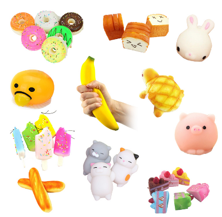 Kawaii Funny Doughnut/rabbit/banana Anti Stress Squishy Slow Rising Scented Sweet Cream Charms Bread Kids Toy Gift