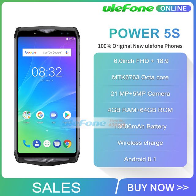 Ulefone Power 5S 13000mAh 4G Smartphone 6.0″ FHD MTK6763 Octa Core Android 8.1 4GB+64GB 21MP Wireless charger Mobile Phone Face