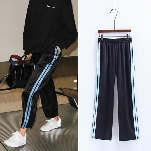Women Side Stripe Patch Wide Leg Ankle Length Casual Wide Leg Pants with Elastic Waist 2017 New Arrivals