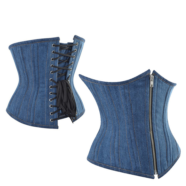 Blue Denim Underbust Corset Jean Blue Corselet Front Zip Waist Corsets and Bustiers Top Sexy Body Shape Corsage 443517