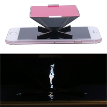 3D Holographic Projector Mini Pyramid Display Stand For 3 5 6Inch Smartphone