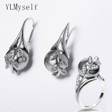 Dropshipping earrings ring sets White color Grey pearl & crystal Wholesale trend leaf jewelry lots Dangling hook earring rings