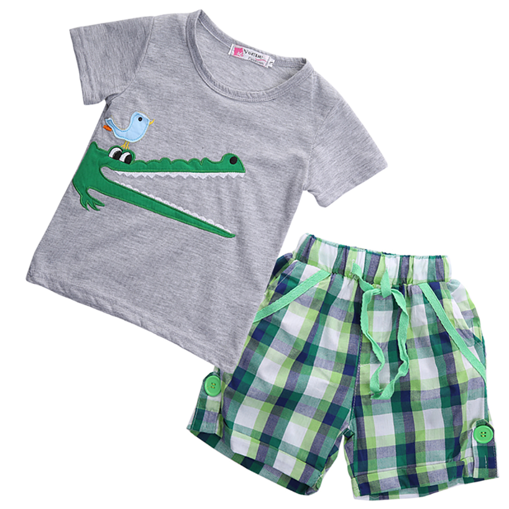 Pudcoco 2 шт. Дети Одежда для мальчиков летний хлопок короткий рукав Футболка с круглым вырезом Шорты для женщин комплект одежды на возраст 1-7 ле...