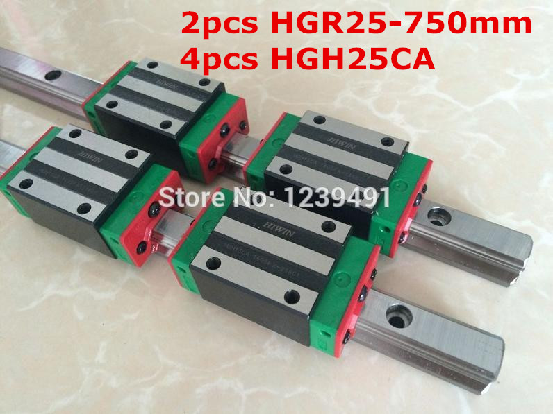2pcs HIWIN linear guide HGR25 - 750mm  with 4pcs linear carriage HGH25CA CNC parts