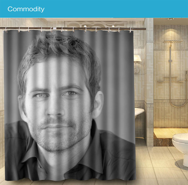 Bathroom 032 Paul Walker Handsome Movie Star Cool Shower Curtain 180x160cm Waterproof Fabric For