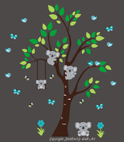 Jungle Trees Safari Animals Reusable Wall Decals Baby Nursery Artwork 83 x 75