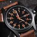Auténtico soki marca relojes militares cuarzo precisa movimiento calendario relojes nylon correa marrón de los hombres de ocio de moda relojes