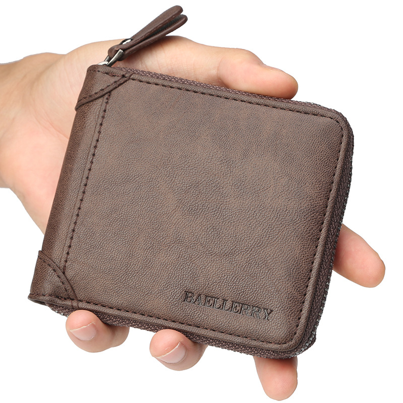 Mens Leather Wallet Business ID Card Holder Billfold Zip Purse Wallet Handbag Clutch Brand New Coffee Coin Holder Male Wallet