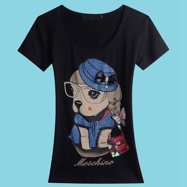 Graphic Tees Tops Para Mujer de Moda 2016 Hecho A Mano Lindo Perro Dulce estilo Mujeres de la Camiseta Impresa Manga Corta de Algodón T-shirt Femme