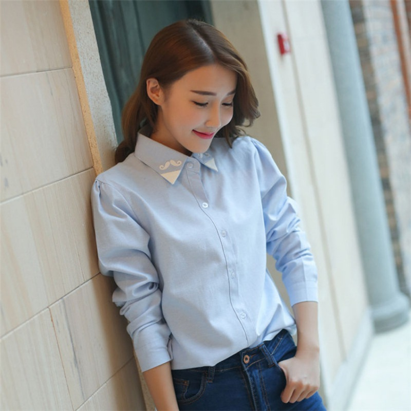 Fashion Casual Long Sleeve   Blouses   Summer Women Turn-down Collar   Shirts   Women Cute Beard Printing Slim   Blouse     Shirts   Female Tops