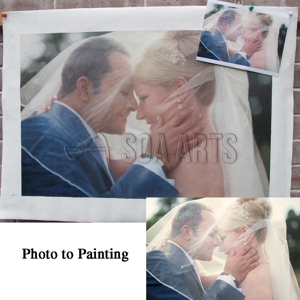 Portrait de mariage cadeau personnalisé cadeau d'anniversaire de mariage peinture à l'huile personnalisée de la photographie pour la décoration de mariage