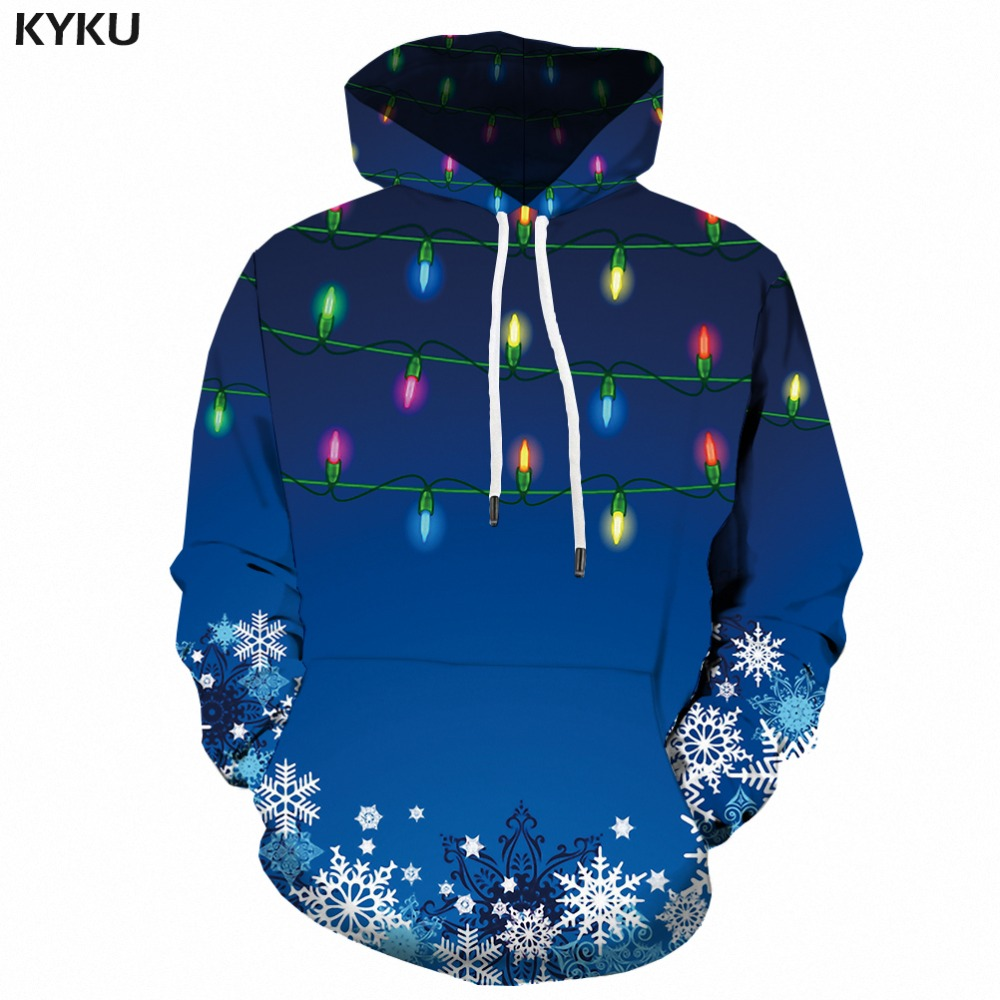 KYKU Christmas Hoodies Women Snowflake Japanese Harajuku Female Xmas Ladies Hoody Blue Woman Clothes Casual Sweatshirts