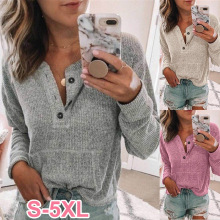 2019 autumn women's long-sleeved T-shirt solid color V-neck long-sleeved T-shirt open button long-sleeved shirt T-shirt