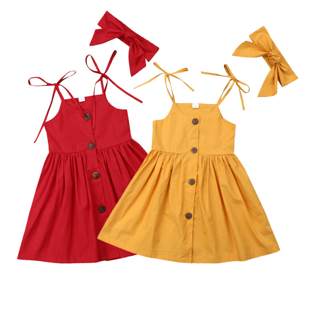 2019 Children Summer Clothing Toddler Girls Princess Strap Dress + Headband Outfits Party Pageant Sleeveless Sundress Solid Gown