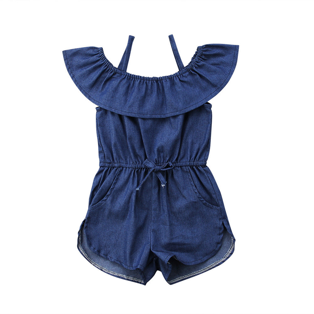 Toddler Baby Kid Girls Clothing Outfit Denim Blue Jean Romper Waisted Ruffle Collar Sleeveless Jumpsuit Summer Baby Girl 1-6T