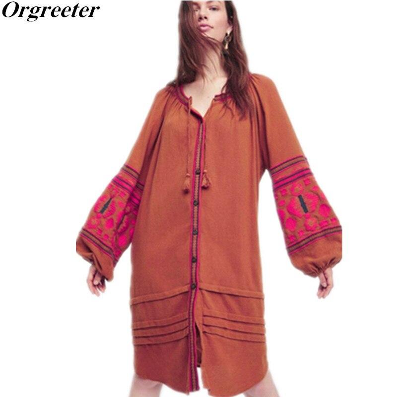Orgreeter 여성 캐주얼 비치 홀리데이 루즈 드레스 싱글 브레스트 고품질 자수 드레스 vestidos femininos boho 2017