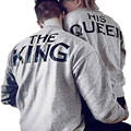 Men THE KING Women HIS Queen Letter Print Hoodie Lovers Couples Clothes Casual Male Female Slim Hooded Sweatshirt Pullover Oct31