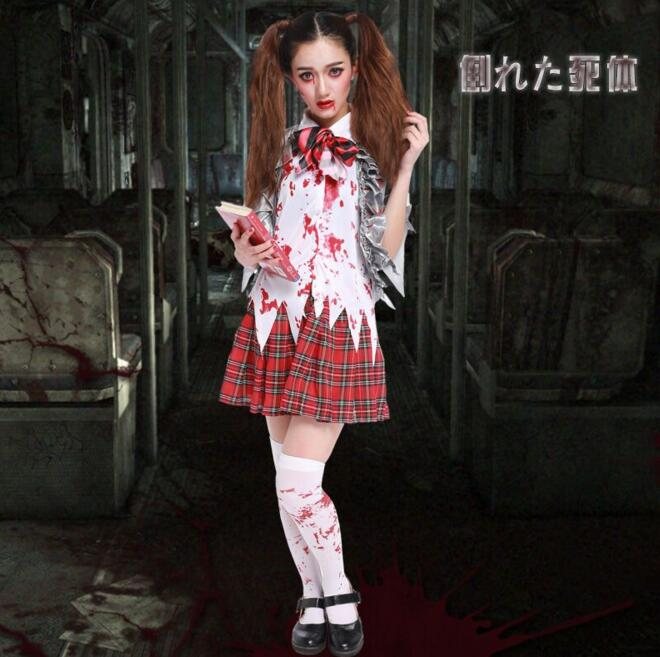 School girl ghost Costume for font b women b font Halloween canival cos Scarey font b