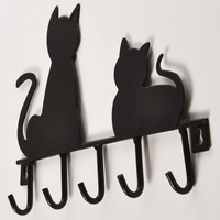 Fashion cat shape design Metal Iron Wall Door hat coat Clothes key hanging Decorative Wall Hooks Robe Hanger with 5 hooks