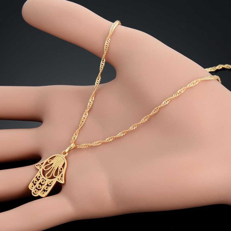 Ręka fatimy naszyjniki wisiorki złoty kolor arabski Palm Hamsa w stylu Vintage łańcuch biżuteria mężczyźni kobiety prezent dropshipping