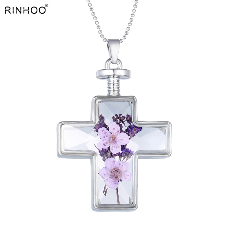 Fashion Pendant Necklace Purple Dry Flower In Cross Glass Locket Silver Necklace For Women Jewerly