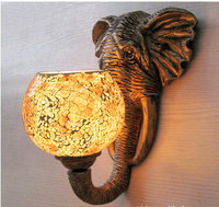 Exotic India Southeast Asia Mediterranean Resin Elephant Mosaic Glass E27 Wall Lamp For Restaurant Aisle Balcony