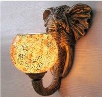 exotic India southeast Asia mediterranean resin elephant mosaic glass e27 wall lamp for restaurant aisle balcony bar hotel 1928