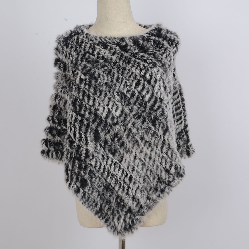 2018 new Women Genuine 100% Real Knitted Rabbit Fur Poncho Women Rabbit Fur Pashmina scarves Wrap Party Pullover Real Fur Scarf