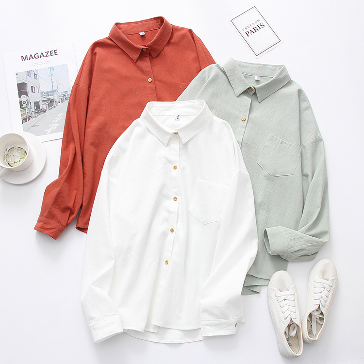 2019 NEW Solid Red Shirt Office Lady Wear Button Up Turn Down Collar Loose Long Sleeve Cotton Blouse Feminina HOT Sale T8D416M