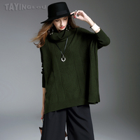Women Sweater 2017 TaYingLou Autumn And Winter New Solid Rabbit Wool Blends Pullovers Turtleneck Batwing Sleeve Short Knitwears