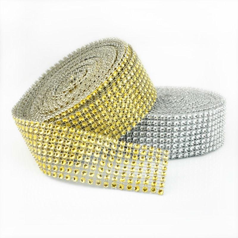 2 м золотого и серебряного цвета Diamond сетки свернутые в рулон блестящие стразы кристаллы ленты для свадьбы День рождения украшения поставки
