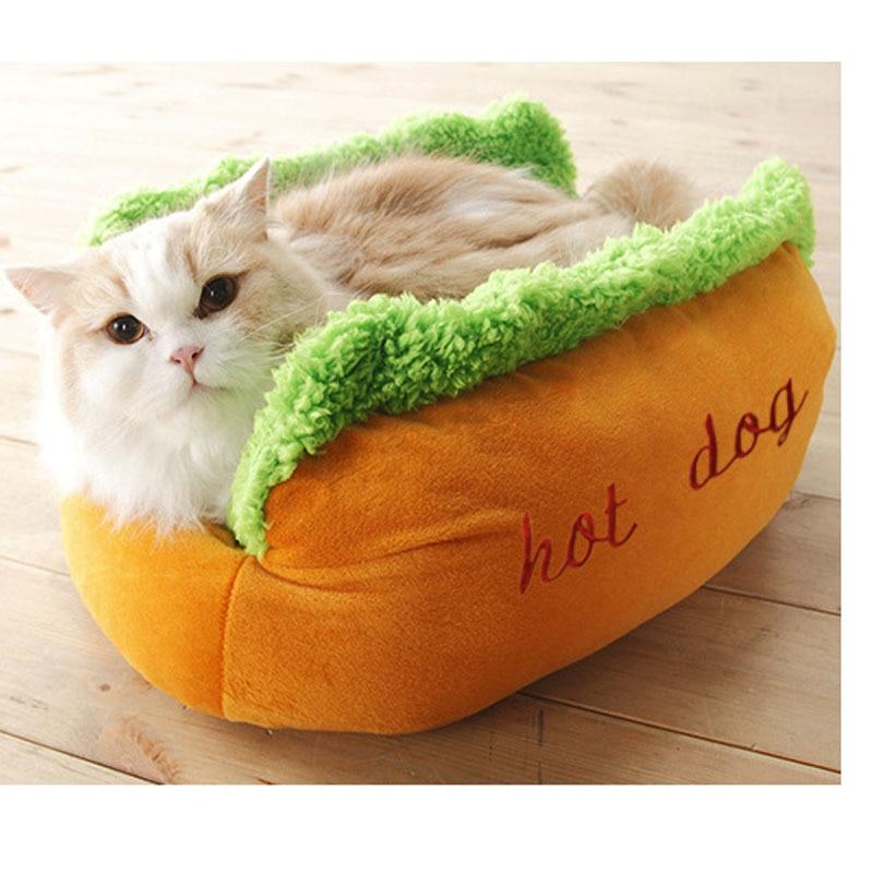 Hot Dog Bed Pet Симпатичные кровати собаки для маленьких собак Теплая подушка дивана для кошек Мягкий спальный мешок для домашних животных Коврик для питомца Смешная подушка для хот-дога