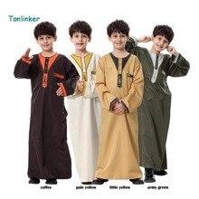 Tonlinker 2018 Muslim kids Arab Middle East Boy Robe Clothes Islamic Clothing children  Abaya Embroidery Arabic
