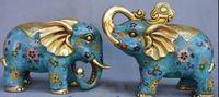Китайская народная фэн шуй Бронзовая пара перегородчатых слонов украшения для дома Металл Ремесла подарки