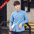 Cotton Double Pockets Bunny Shirt Men Long Sleeve Slim 2017 Spring Men Blue Retro Jeans Shirt
