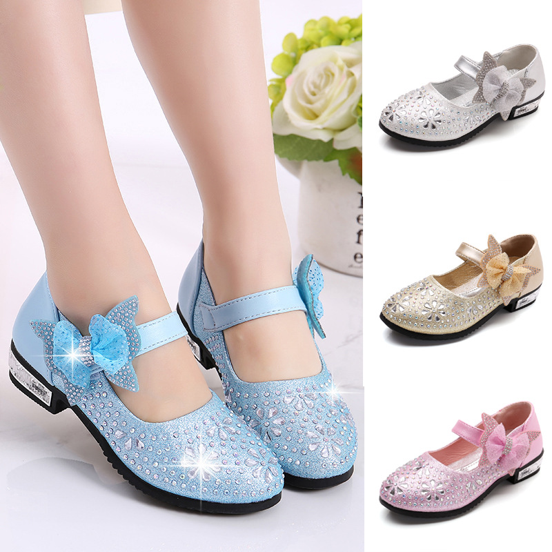 2019New Kids Shoes Girls Rhinestones Princess Childrens Girls Shoes Dance Wedding Party Shoes For Girl 3 4 5 6 7 8 9 10 11-14T