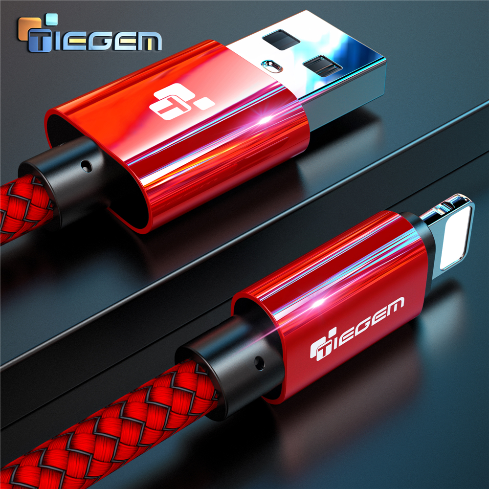Tiegem Usb Cable For Iphone Xs Max X Xr 2A Quick Charging Cable For Iphone eight 7 6 Plus 5 5S Se Usb Knowledge Cable Telephone Charger Cable