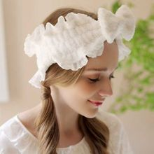 Japanese Sweet Candy Color Bowknot Hairband Women Girls Romantic Ruffled Lace Trim Headband Princess Makeup Bath Velvet Headwrap