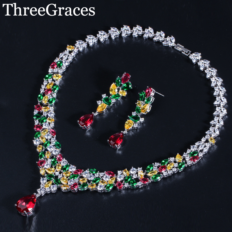 ThreeGraces Sumptuous Pave Pear Drop Cubic Zircon Stone Silver Color Necklace and Earrings Wedding Jewelry Set for Brides JS277 threegraces luxury dubai gold color jewelry set big water drop cz stone wedding necklace earrings bracelets for brides js057