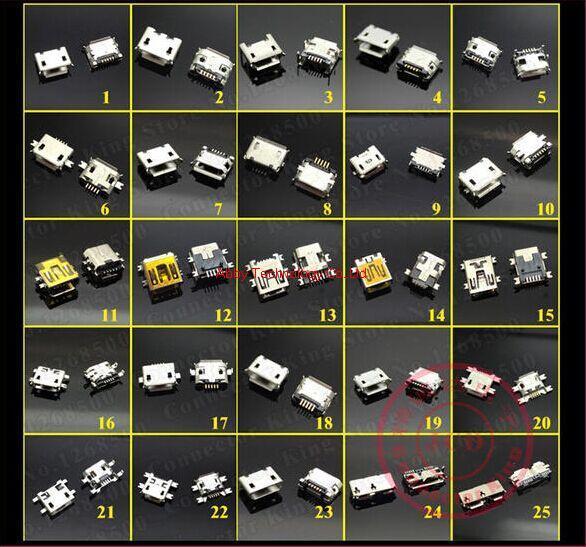 25 Models 4pcs each model Mixed order New Widely Using Mirco USB Connectors Plug
