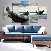 Drop Shipping Modern Canvas Prints Sea Boat Painting Sunset Seascape Cuadros Oil Wall Pictures For Living