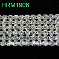 10yd 6 rijen Clear crystal rhinestone mesh trim Cake lint banding met SS20 Kristallen voor DIY Frontriem trouwjurk decoratie