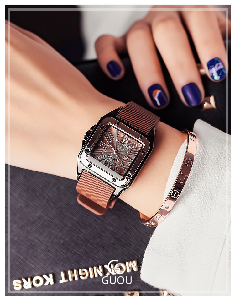 Luxury Roman Numbers Wristwatch Square Rose Gold